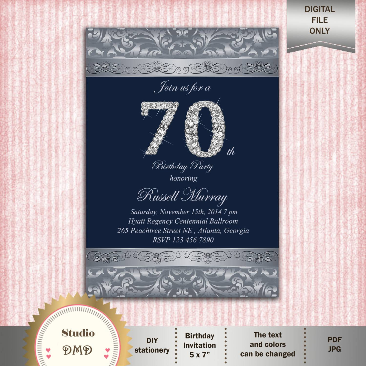 Best ideas about 70 Birthday Invitations . Save or Pin 70th Birthday Party Invitations Now.