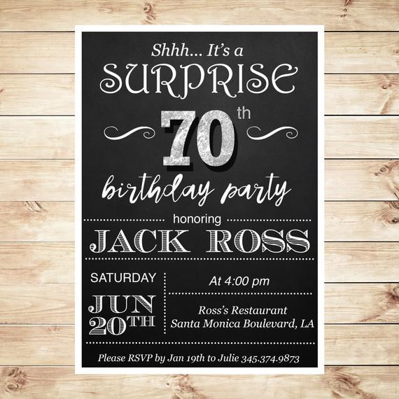 Best ideas about 70 Birthday Invitations . Save or Pin Surprise 70 birthday party invitations by ArtPartyInvitation Now.