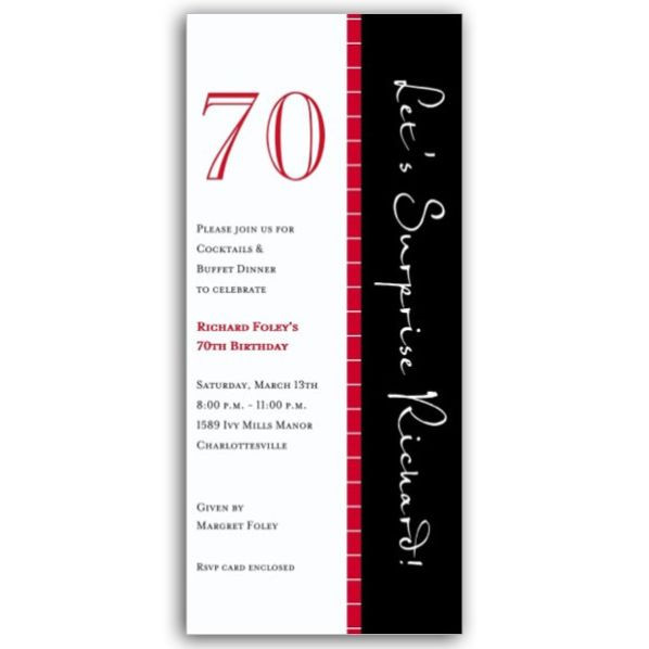 Best ideas about 70 Birthday Invitations . Save or Pin 70 Red Black Stripe Birthday Invitations Now.