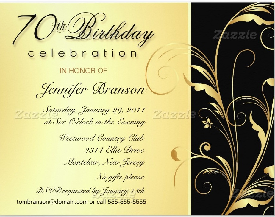 Best ideas about 70 Birthday Invitations . Save or Pin 70th Birthday Party Invitation Wording Now.
