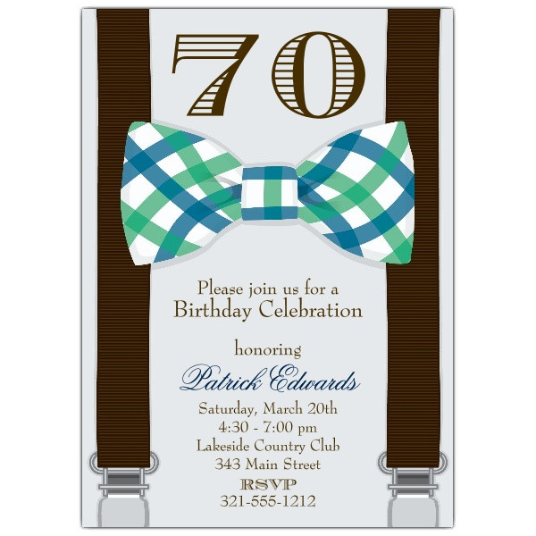 Best ideas about 70 Birthday Invitations . Save or Pin Bowtie 70th Birthday Invitations Now.