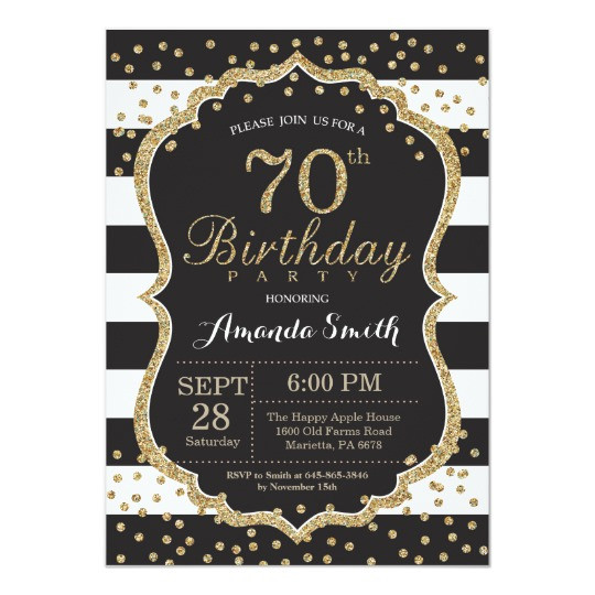 Best ideas about 70 Birthday Invitations . Save or Pin 70th Birthday Invitation Black and Gold Glitter Now.