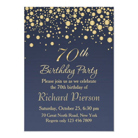 Best ideas about 70 Birthday Invitations . Save or Pin Golden confetti 70th Birthday Party Invitation Now.