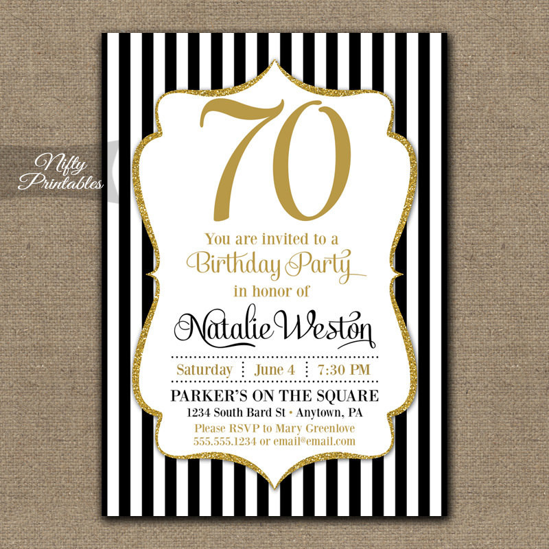 Best ideas about 70 Birthday Invitations . Save or Pin 70th Birthday Invitations Black & Gold Glitter 70 Seventy Now.