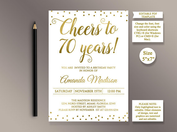 Best ideas about 70 Birthday Invitations . Save or Pin EDITABLE 70th Birthday party Invitation template Cheers to 70 Now.