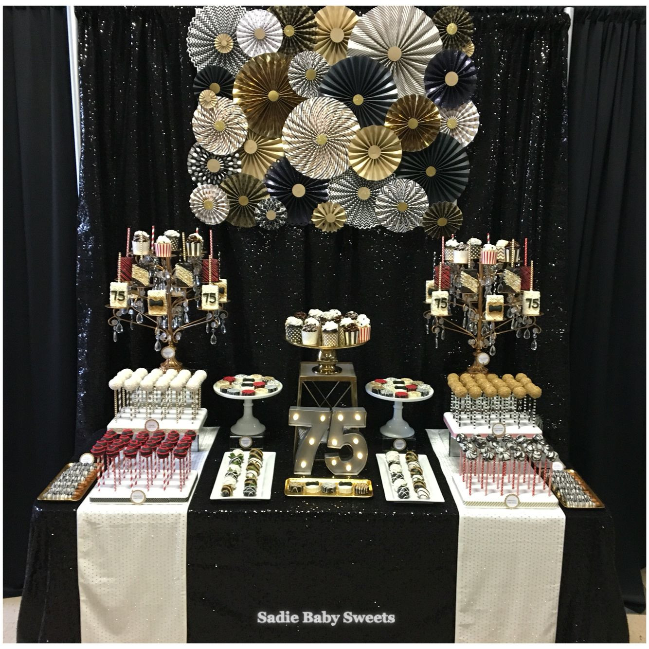 75th Birthday Party Decorations  75th Birthday Party Black Tie Sweets Table