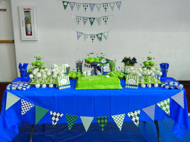 75th Birthday Party Decorations  Golf themed 75th birthday party dessert table