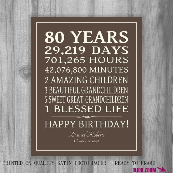 80Th Birthday Gift Ideas For Dad  80th BIRTHDAY GIFT Sign Print Personalized Art Mom Dad Grandma