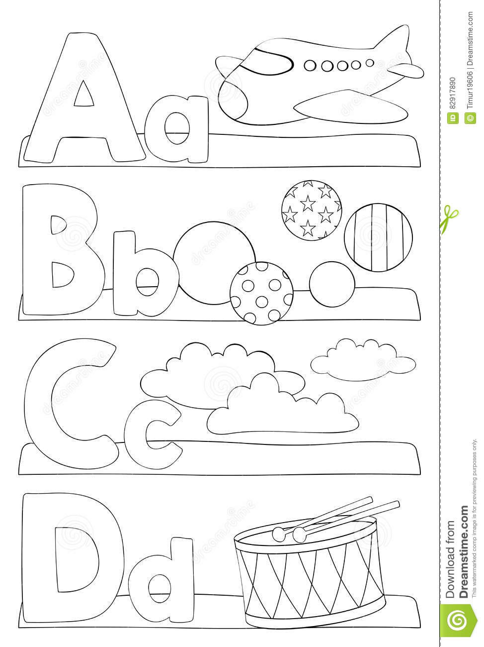 A B C Coloring Books  Alphabet Coloring Page Letters A B C D Stock Vector