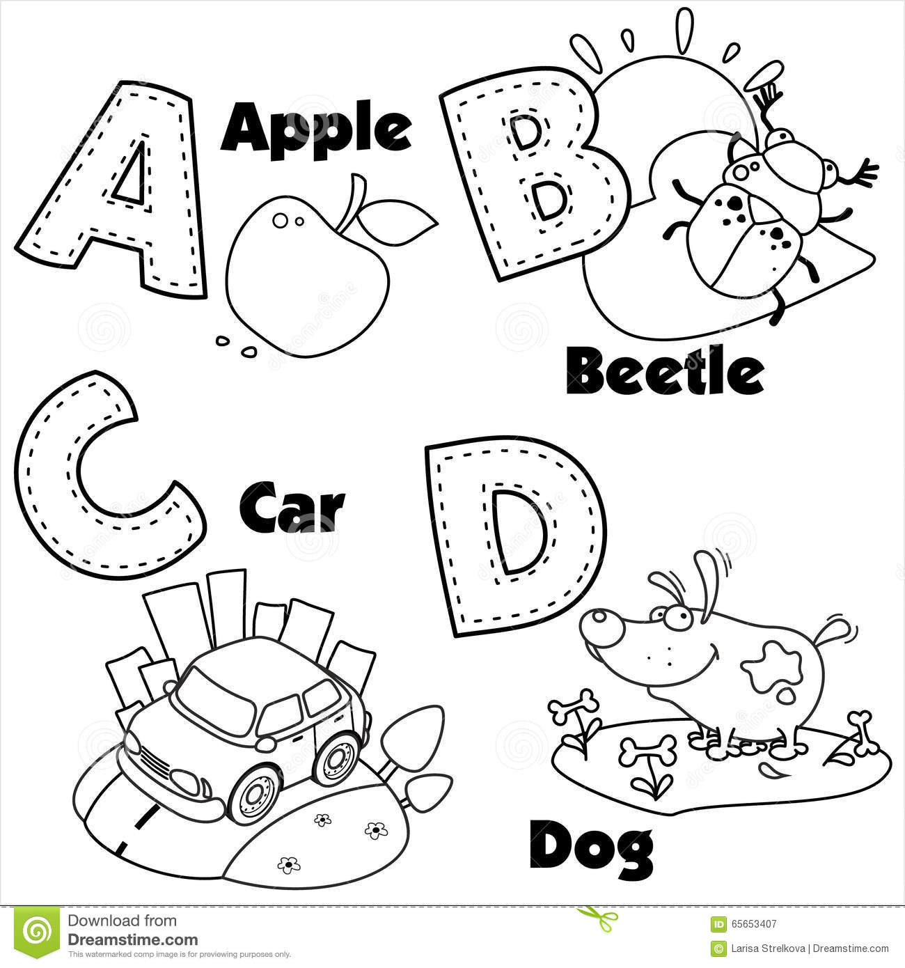 A B C Coloring Books  English Alphabet And The Letters A B C And D Stock