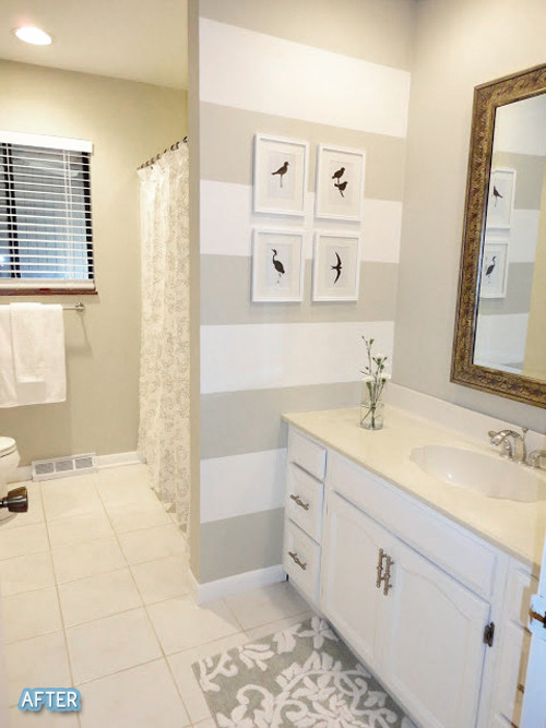Best ideas about Accent Walls In Bathrooms . Save or Pin striped accent wall in bathroom love it Home Now.