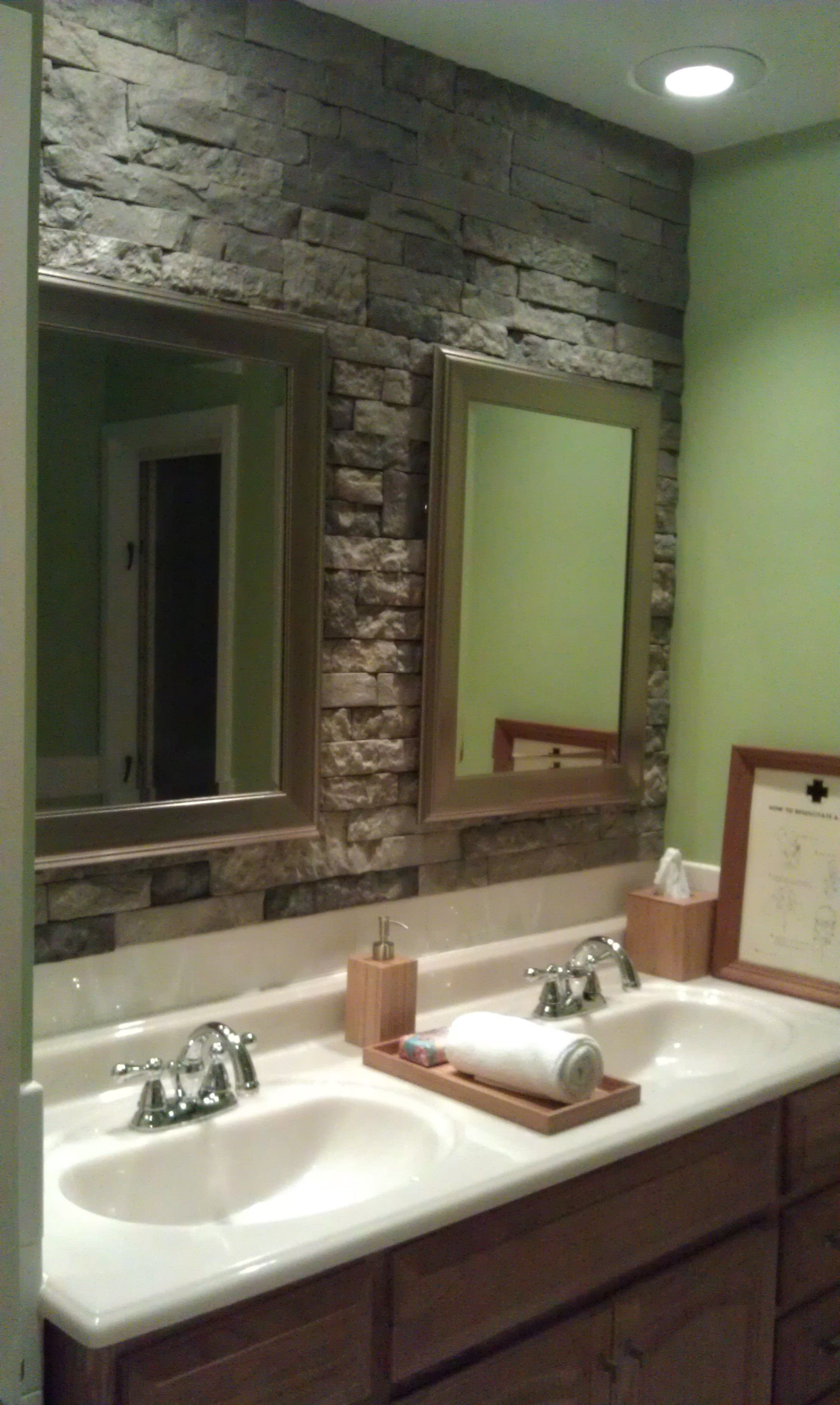 Best ideas about Accent Walls In Bathrooms . Save or Pin airstone stone accent wall in bathroom Can t wait to do Now.