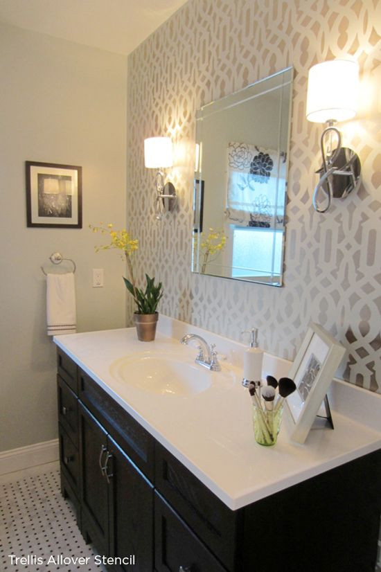 Best ideas about Accent Walls In Bathrooms . Save or Pin The Trellis Stencil from Cutting Edge Stencils was used in Now.