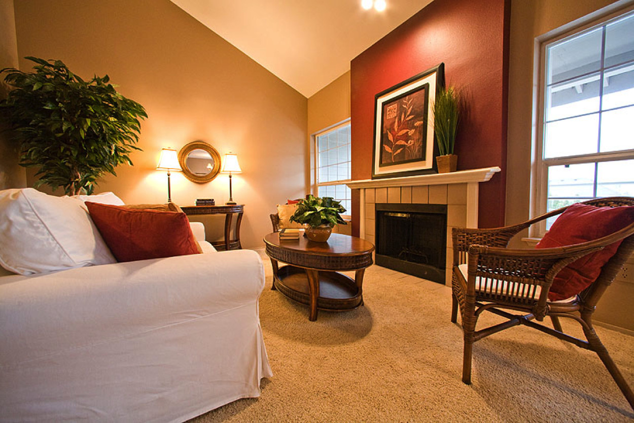 Best ideas about Accent Walls Living Room . Save or Pin Warm Living Room Nuanced Using Beige Wall Accents Paint Now.