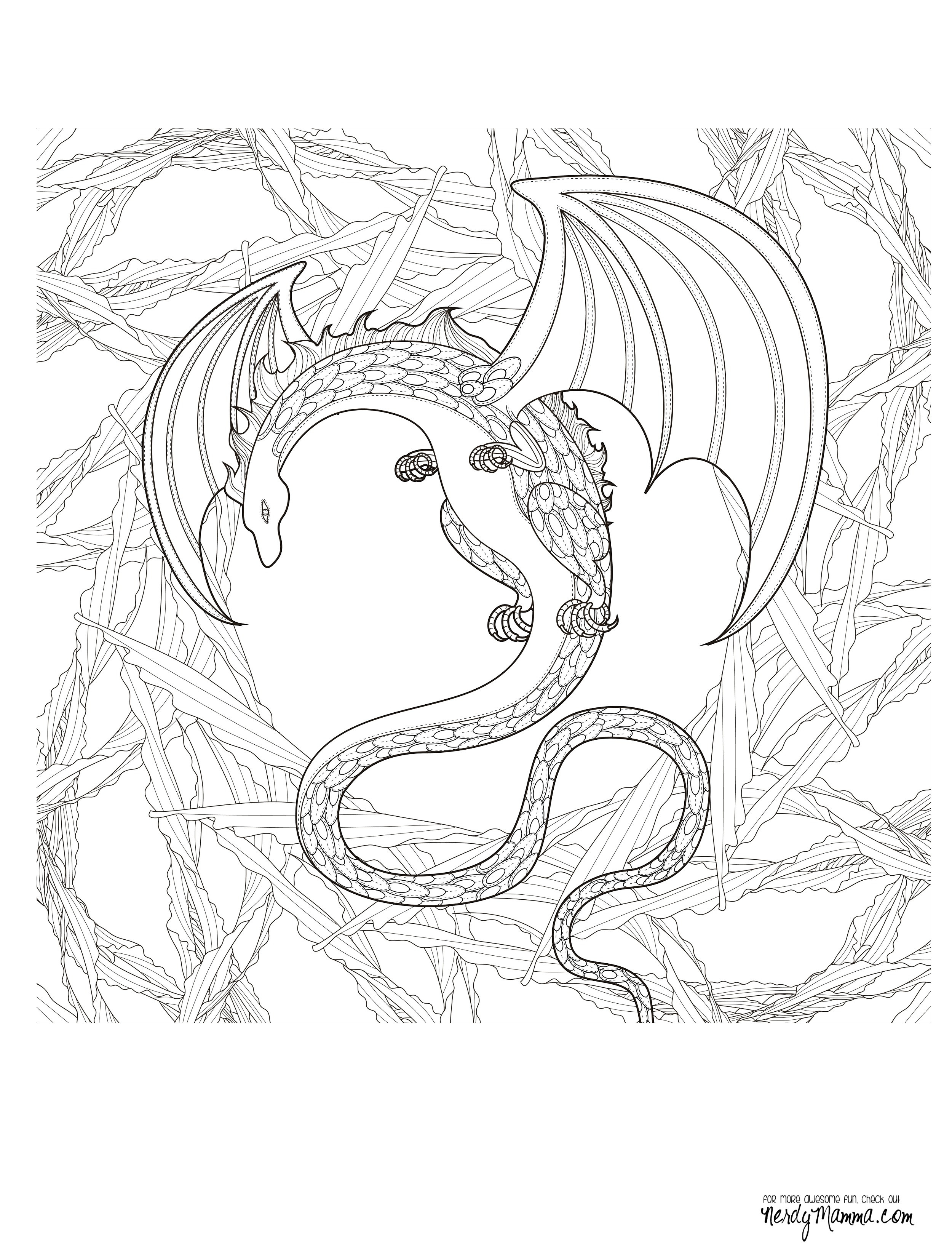Adult Coloring Book Dragon  11 Free Printable Adult Coloring Pages