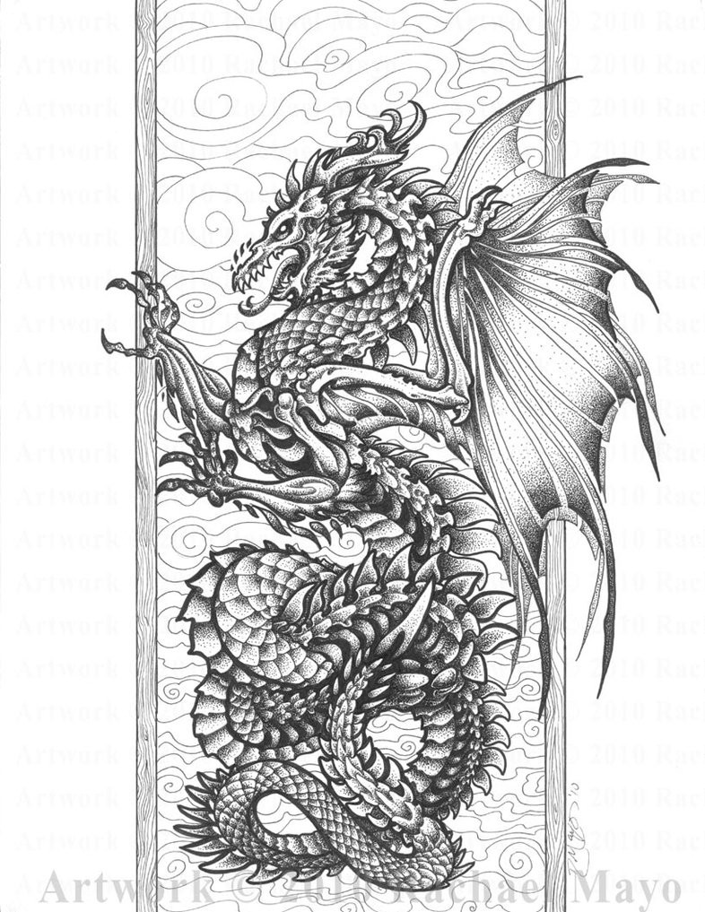 Adult Coloring Book Dragon  Harmony of Bone and Air bw by rachaelm5 on DeviantArt