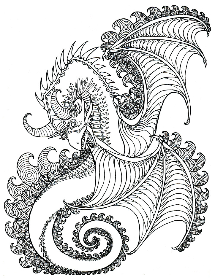 Adult Coloring Book Dragon  Tyler J Warren s Creative Blog