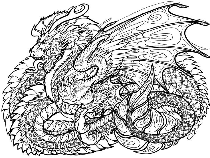 Adult Coloring Book Dragon  108 best Coloring Pages Dragons images on Pinterest
