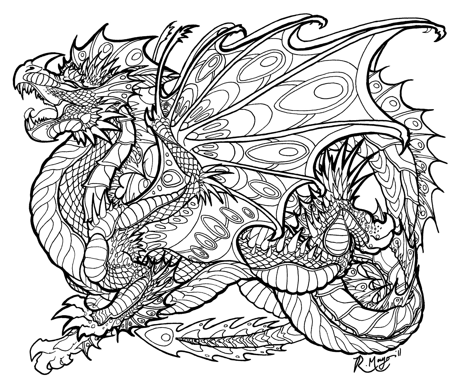Adult Coloring Book Dragon  Malachite Sentinel lineart by rachaelm5viantart on