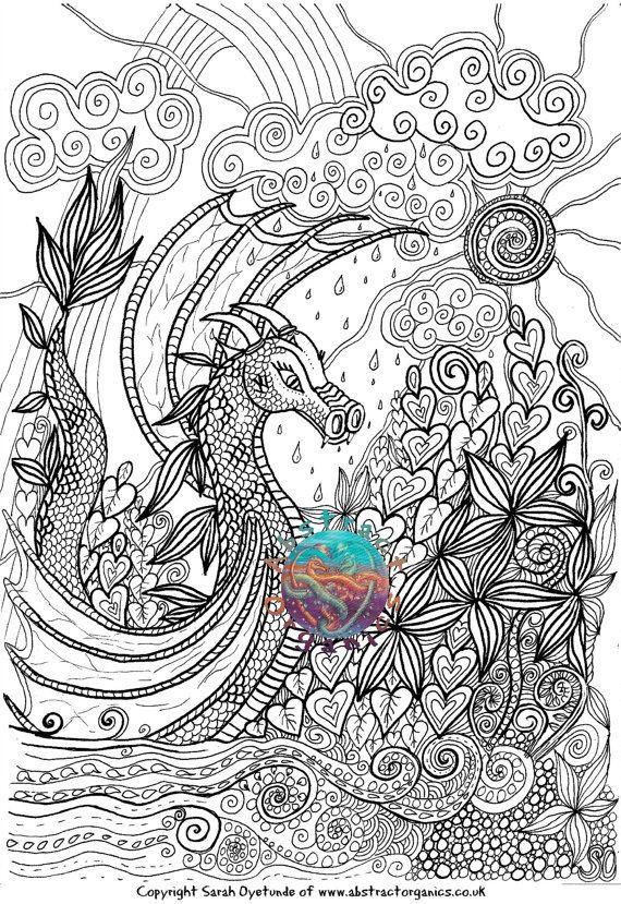 Adult Coloring Book Dragon  Dragon adult colouring page landscape fantasy landscape