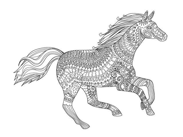 Adult Coloring Book Horse  Fantastic Horses Adult Coloring Book Designs Myria