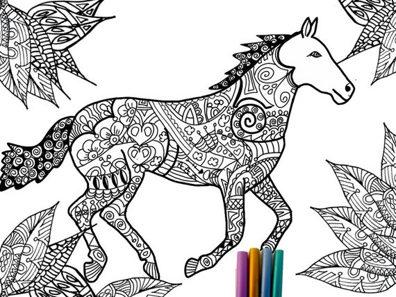 Adult Coloring Book Horse  Detailed Horse Coloring Pages For Adults Coloring Pages