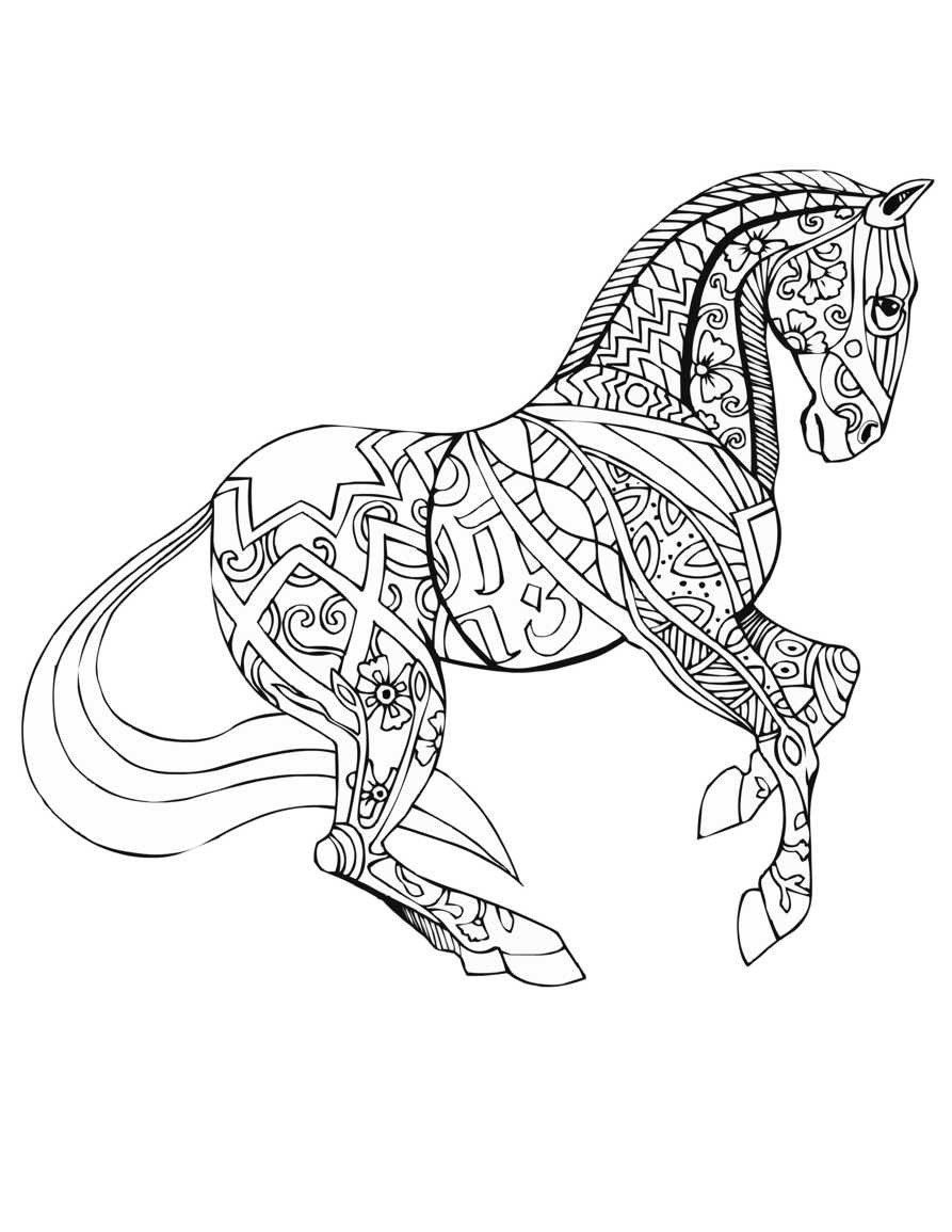 Adult Coloring Book Horse  Free Printable Adult Coloring Pages