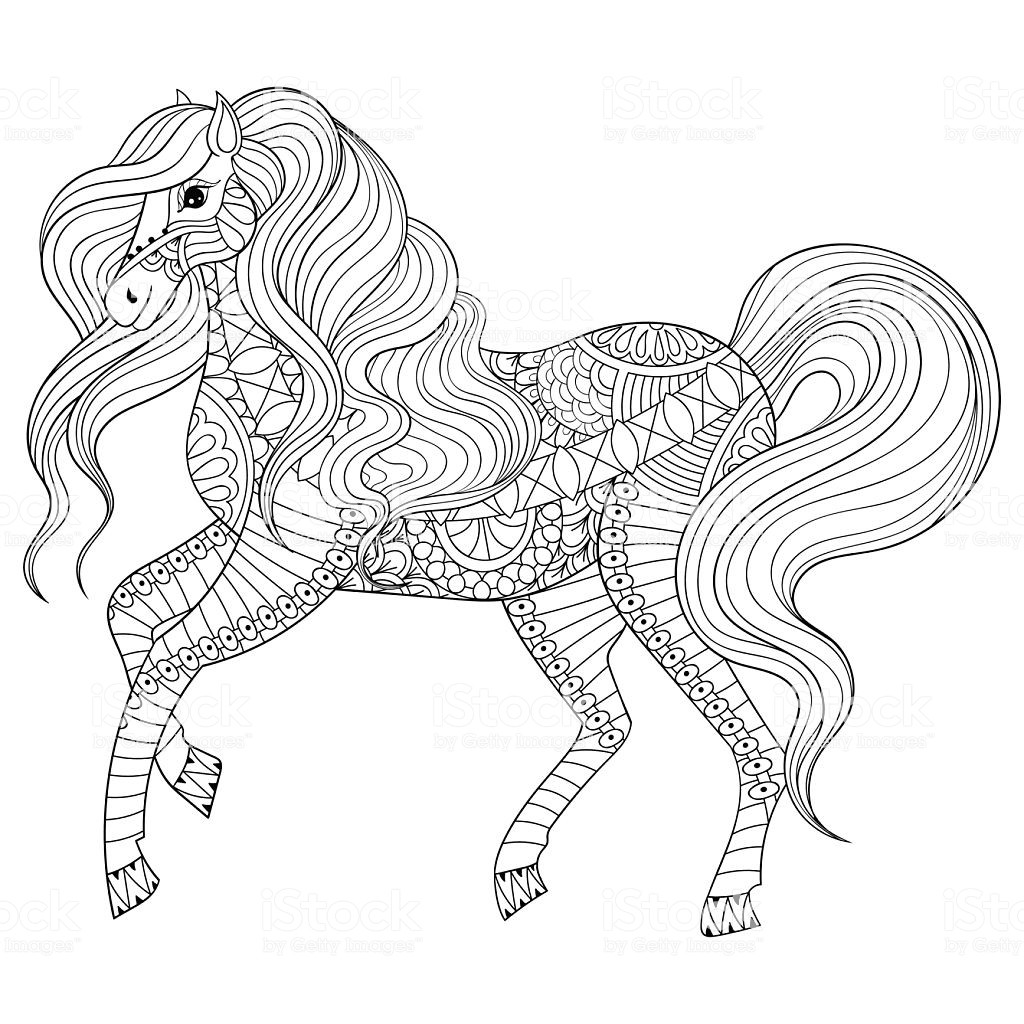 Adult Coloring Book Horse  Hand Drawn Horse For Adult Coloring Page Art Therapy Stock