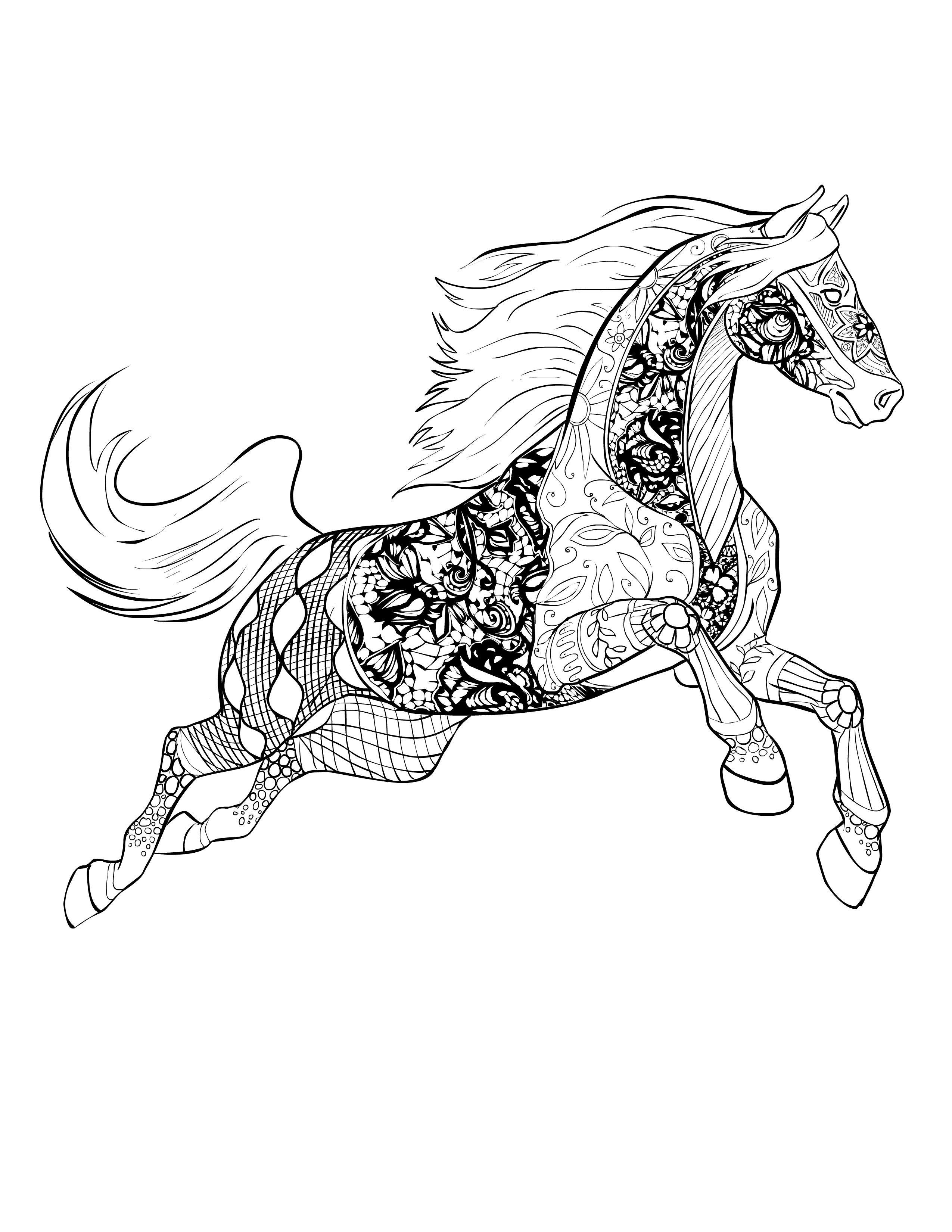 Adult Coloring Book Horse  Horse free Selah Works