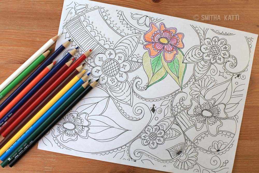 Adult Coloring Book Pencils  Adult Coloring Pages Download Smitha Katti