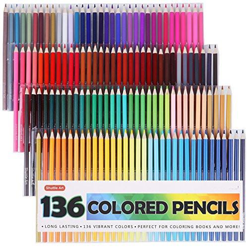Adult Coloring Book Pencils  Shuttle Art 136 Colored Pencils Colored Pencil Set for