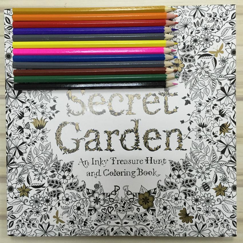 Adult Coloring Book Pencils  Secret Garden Coloring Book Adult Coloring Book Hand drawn