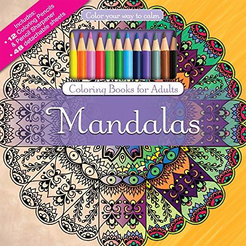 Adult Coloring Book Pencils  Mandalas Adult Coloring Book Set With 24 Colored Pencils