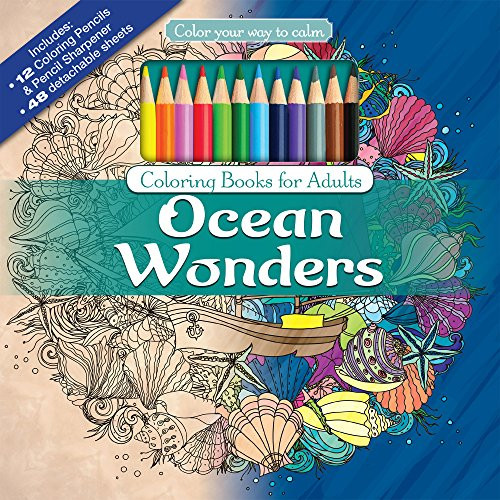 Adult Coloring Book Sets  Ocean Wonders Adult Coloring Book Set With 24 Colored