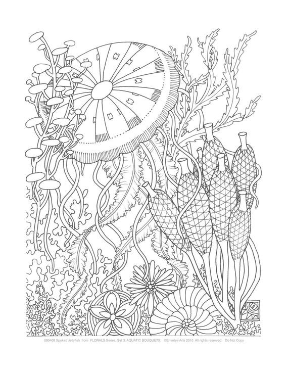 Adult Coloring Book Sets  Adult Coloring Pages Aquatic Bouquets Set of 8 by emerlyearts