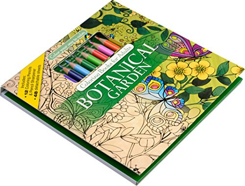 Adult Coloring Book Sets  Botanical Garden Adult Coloring Book Set With Colored