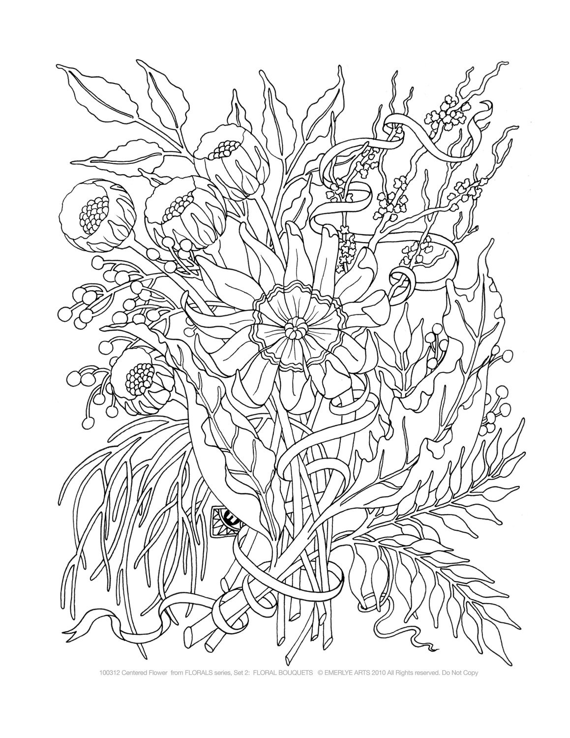 Adult Coloring Book Sets  Adult Coloring Pages Floral Bouquets Set of 8