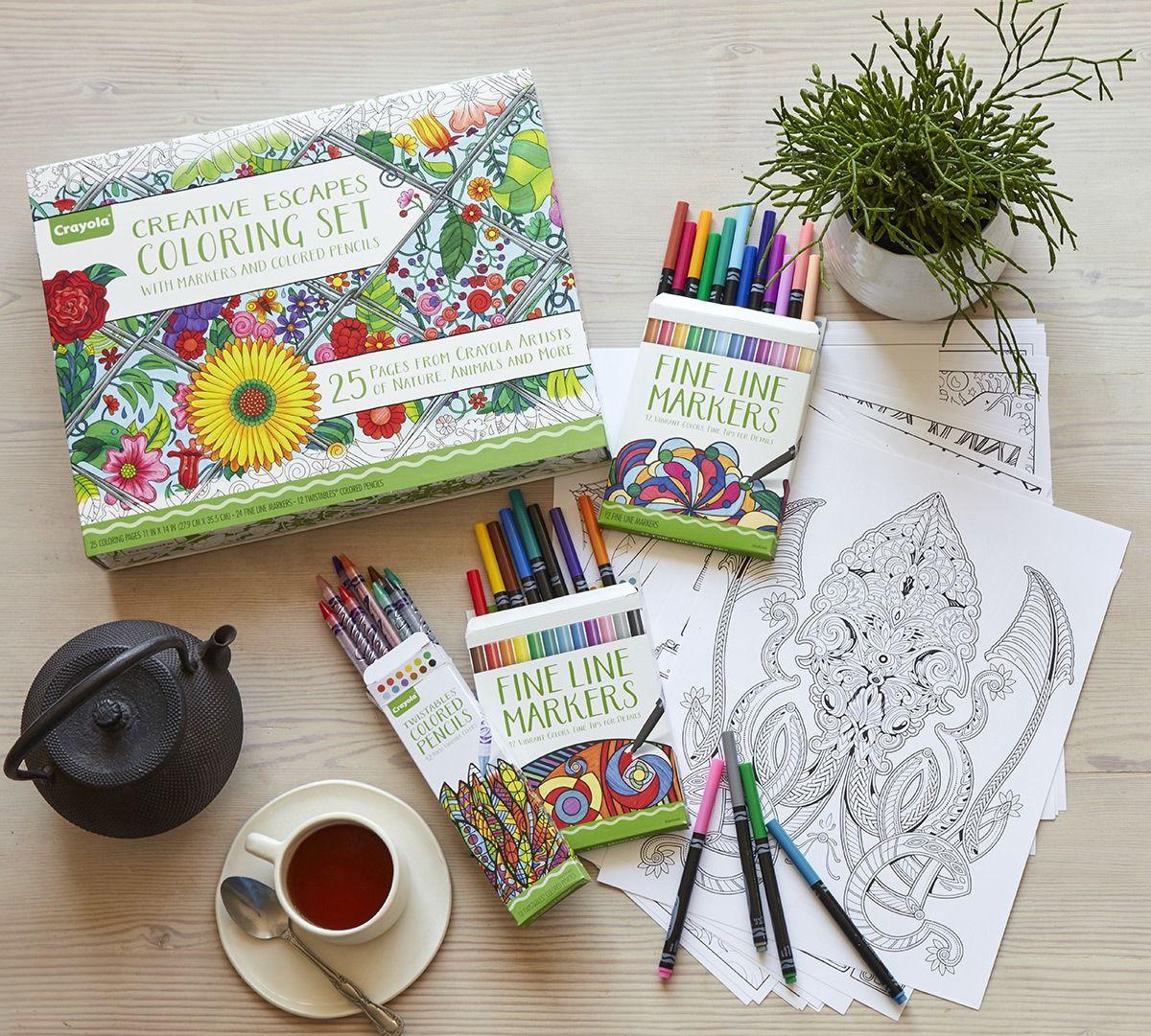 Adult Coloring Book Sets  Creative Escapes Coloring Set Gift Set Crayola