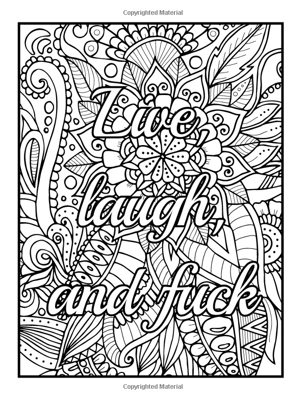 Adult Coloring Books Quotes  Amazon Be F cking Awesome and Color An Adult