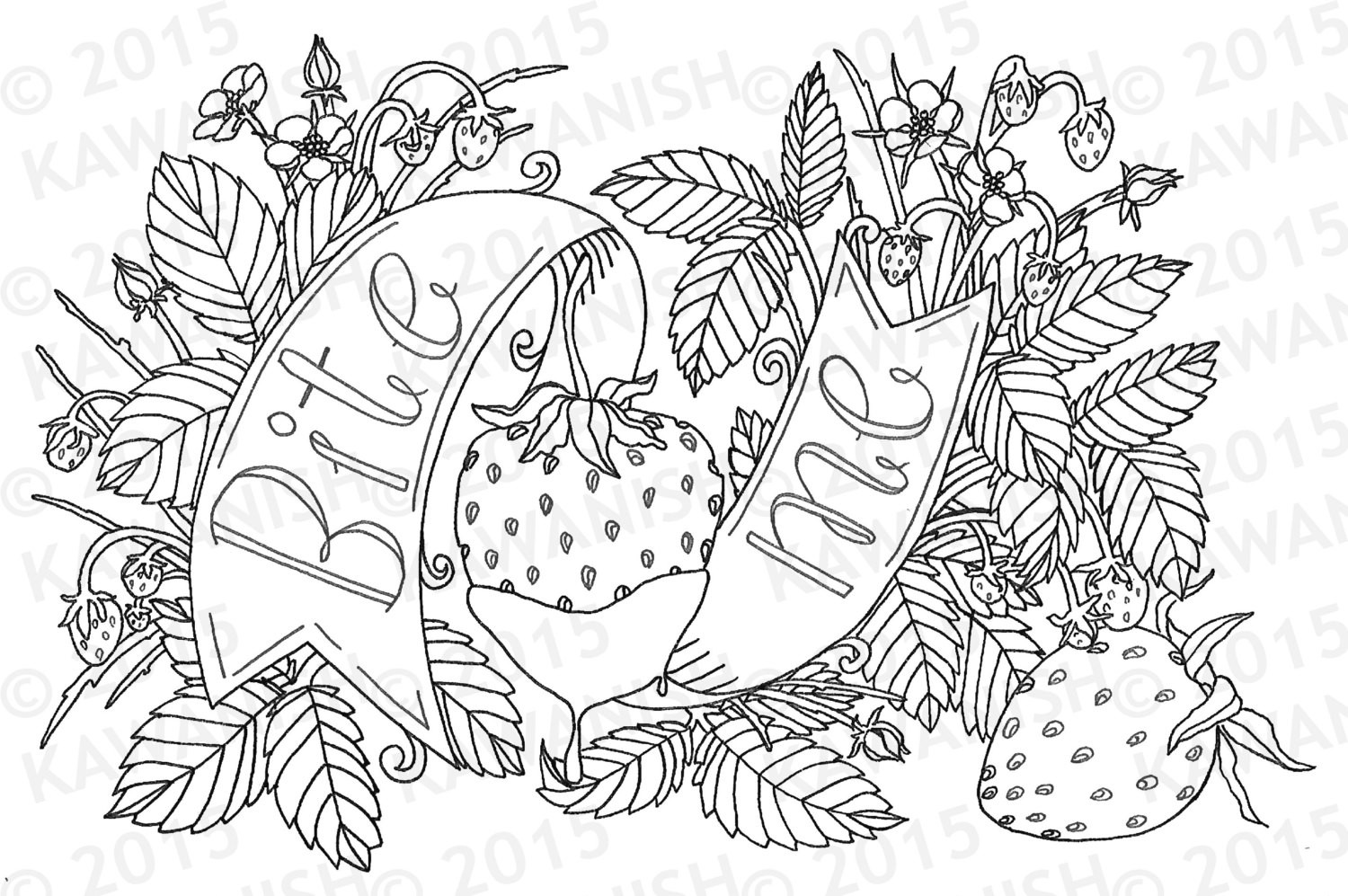 Adult Coloring Books Sex  bite me strawberry adult coloring page wall art t funny