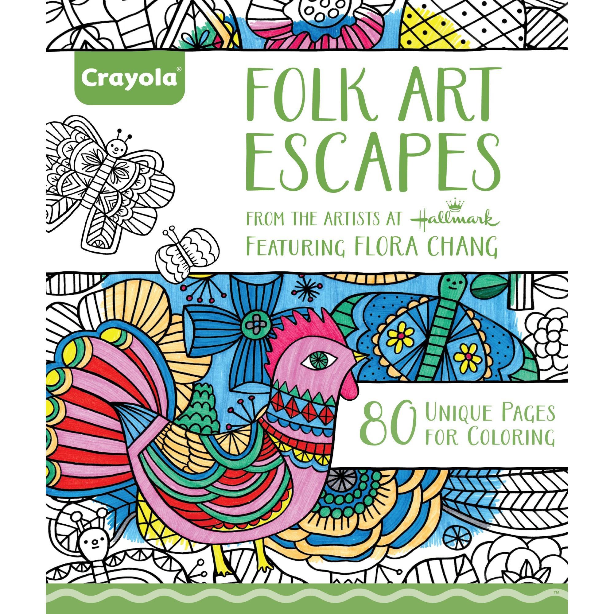 Adult Coloring Books Walmart  Crayola Adult Coloring Book Bundle Folk Art Escapes and