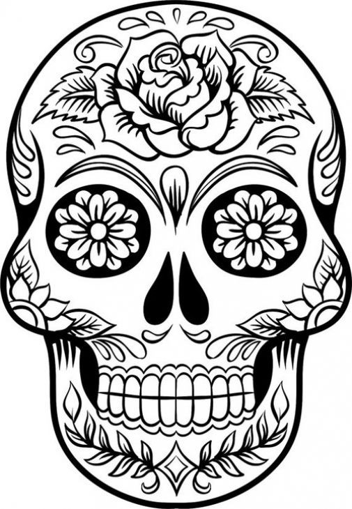 Adult Coloring Pages Abstract Skull  Hard Coloring Page Sugar Skull To Print For Grown Ups