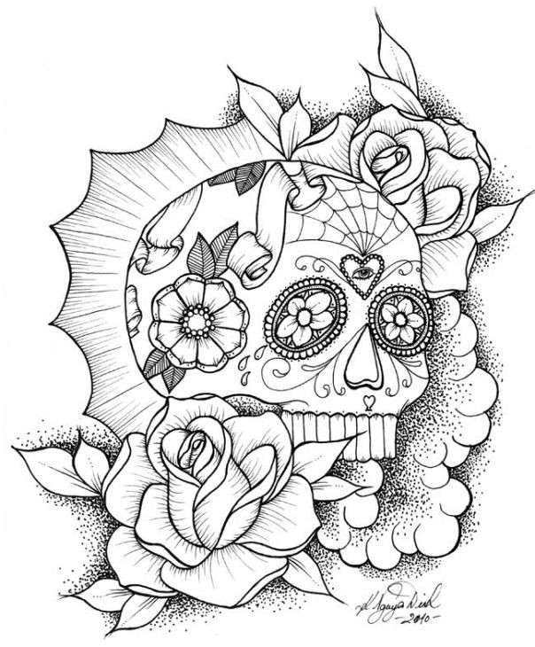 Adult Coloring Pages Abstract Skull  Awesome Sugar Skull Coloring Picture line