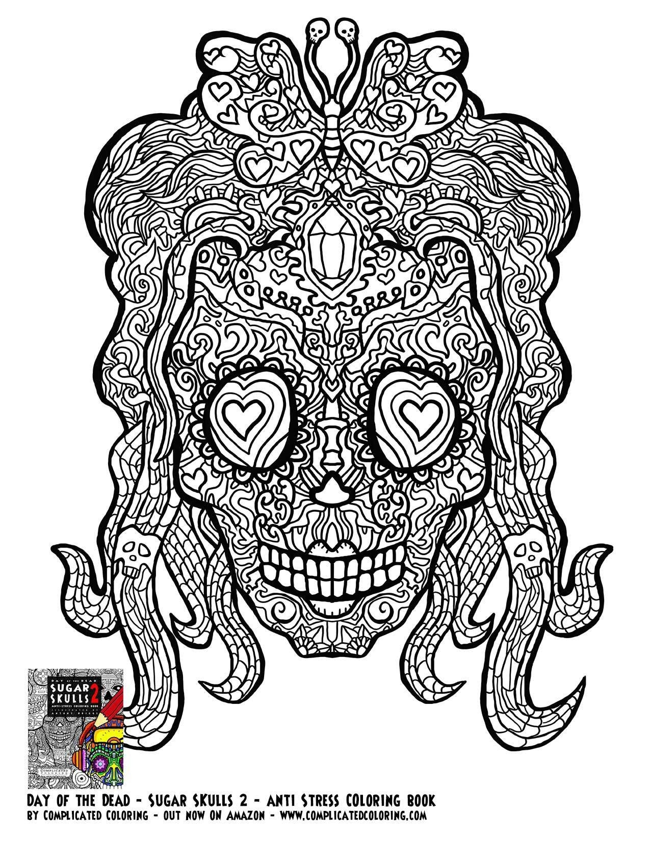 Adult Coloring Pages Abstract Skull  Detailed Coloring Pages for Adults Skull Free Free