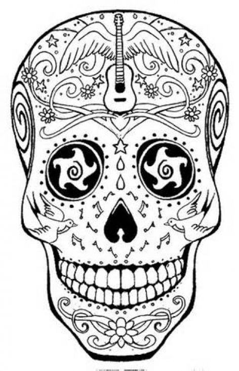 Adult Coloring Pages Abstract Skull  Detailed Sugar Skull Coloring Page