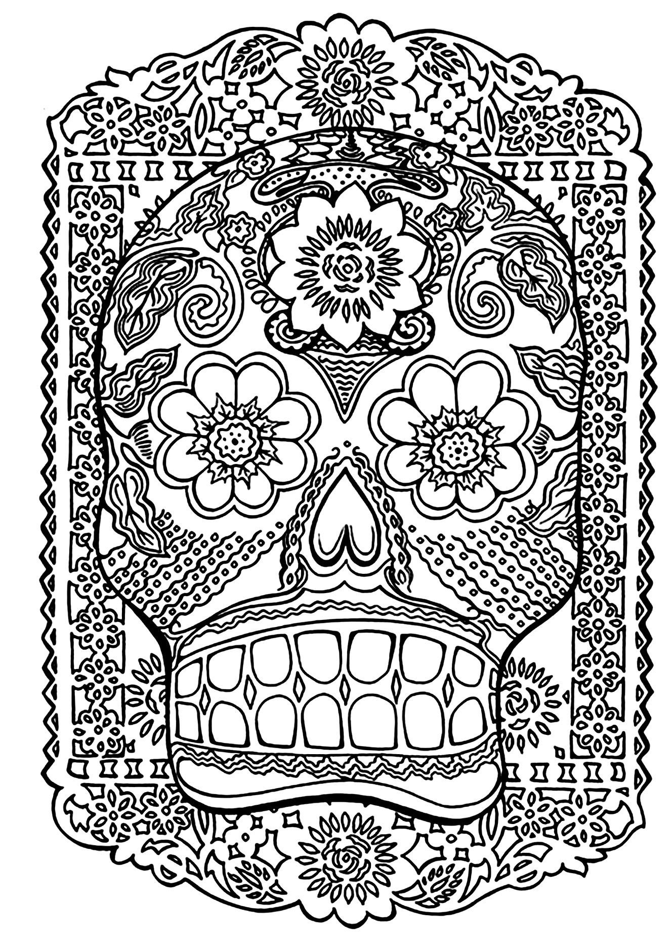 Adult Coloring Pages Abstract Skull  Adult Coloring Pages Abstract Skull Free