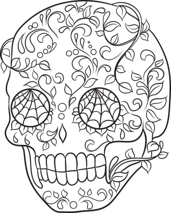 Adult Coloring Pages Abstract Skull  Girls Printable Coloring Page Sugar Skull