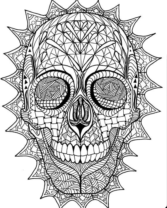 Adult Coloring Pages Abstract Skull  Coloring Page Zentangle Sugar Skull Digital Coloring pdf