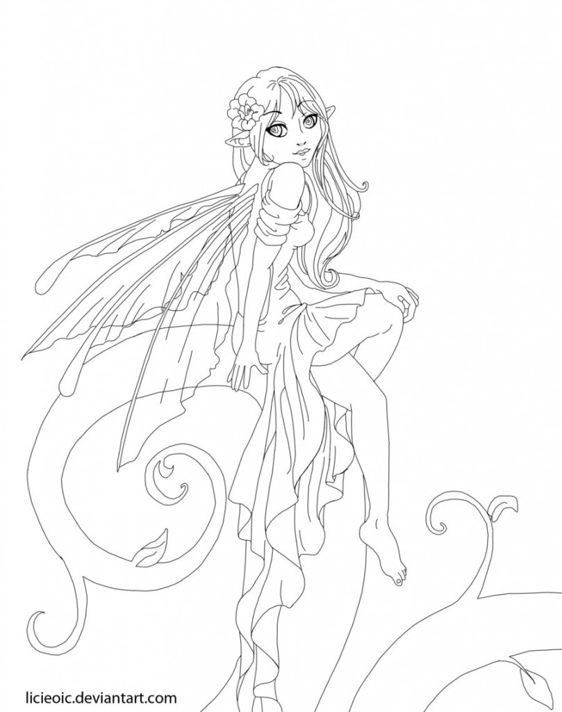 Adult Coloring Pages Fairy  34 Awesome and Free Fairy Coloring Pages for Adults