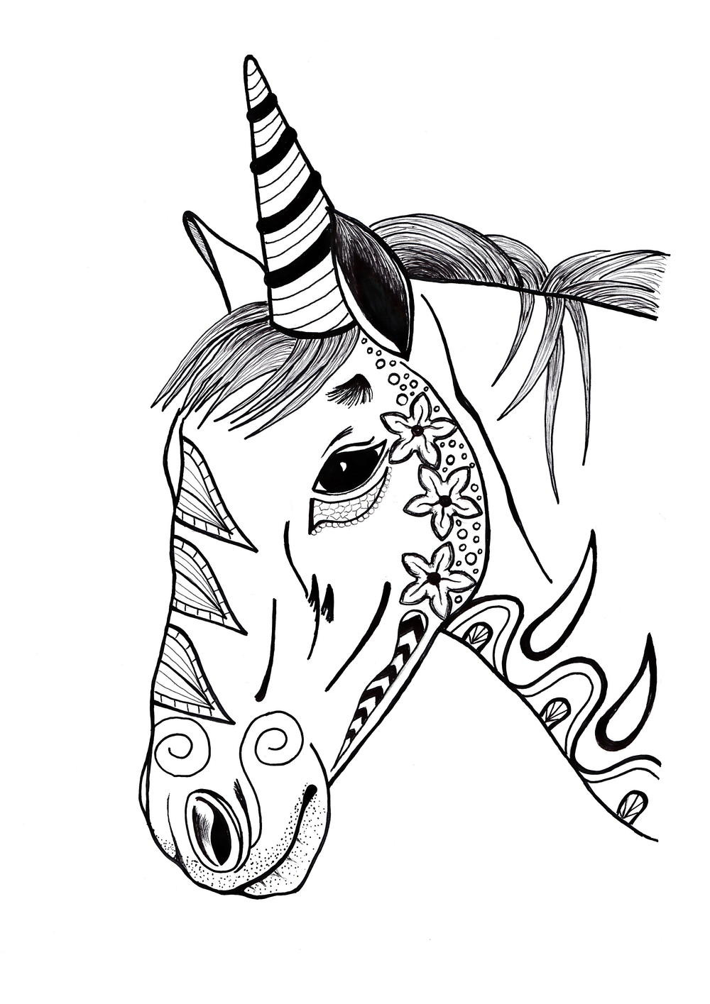 Adult Coloring Pages Unicorn  Colorful Unicorn Adult Coloring Page
